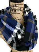 Blue, Black, Smokey Gray and White Plaid Medium Weight Flannel Scarf