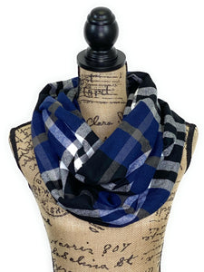 NEW Blue, Black, Smokey Gray and White Plaid Medium Weight Flannel Scarf