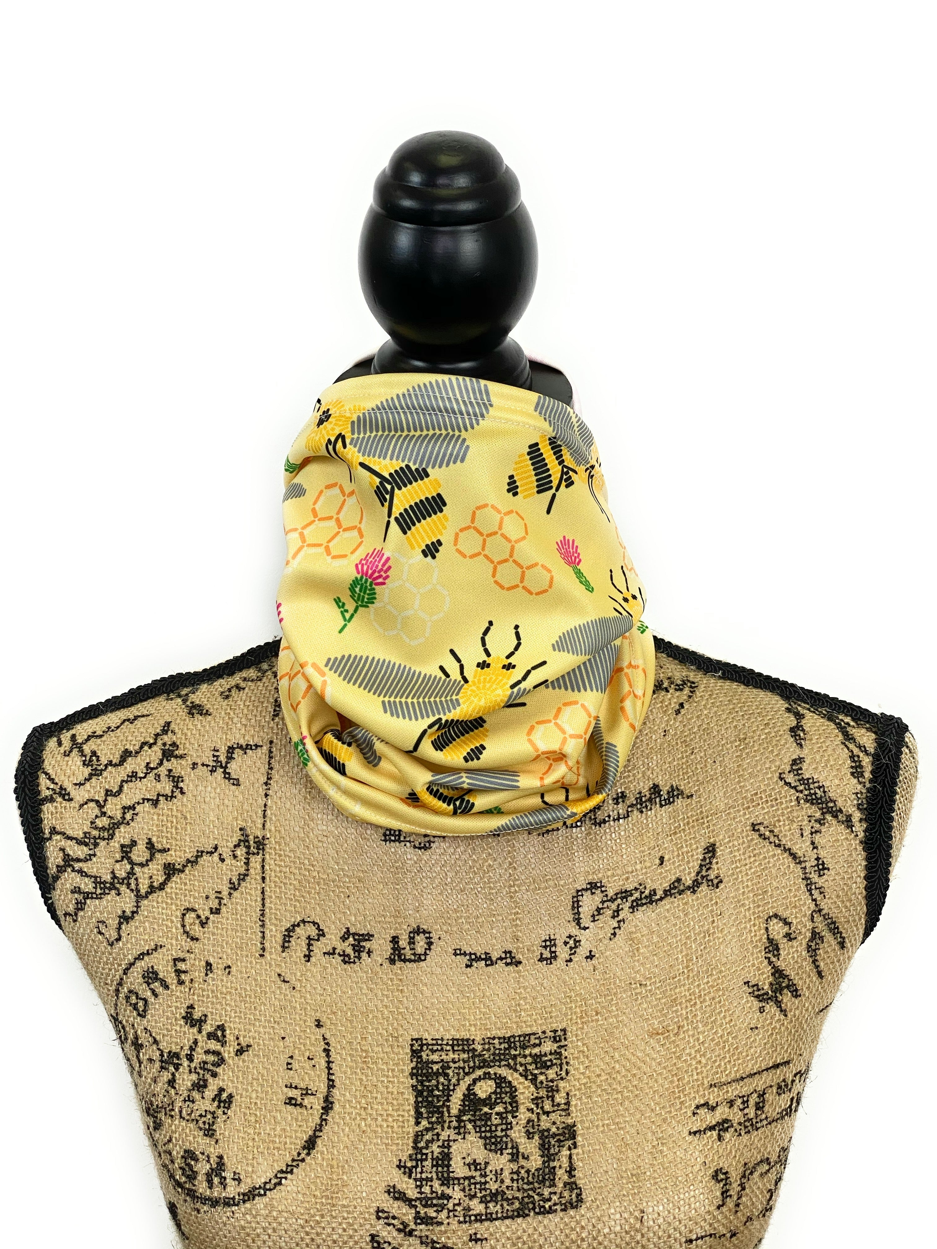 Yellow Honeycomb, Honey Bee, and Thistle Neck Gaiter/Face Covering