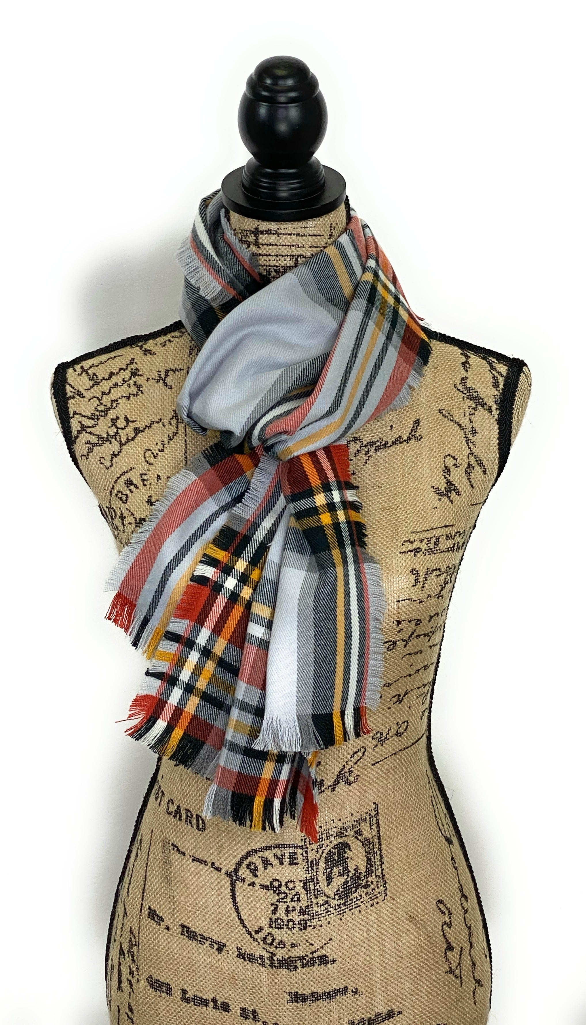 NEW Gray, Orange, Yellow, White, and Black Plaid Acrylic Scarf