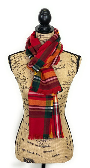 Fall Colors of Red, Orange, Yellow, White, and Black Plaid Acrylic Scarf