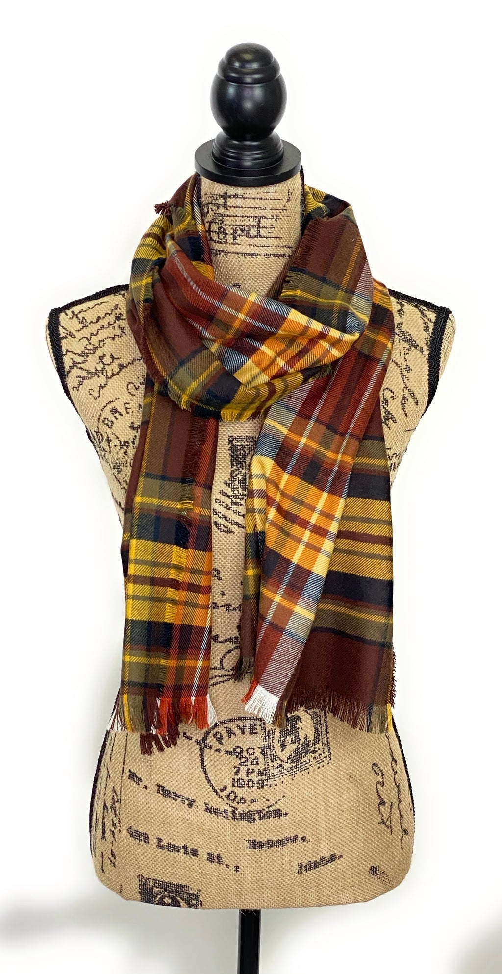 NEW Fall Colors of Warm Brown, Yellow, White, Black, and Smokey Gray Plaid Acrylic Scarf