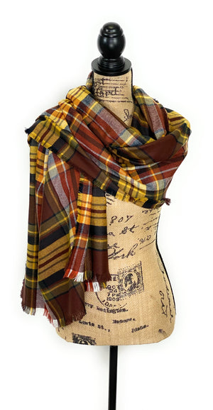 Fall Colors of Warm Brown, Yellow, White, Black, and Smokey Gray Plaid Acrylic Scarf