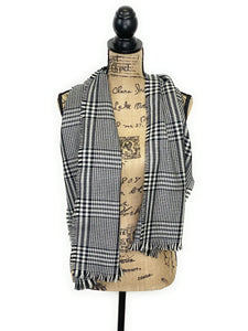 Prince of Wales Tartan Black and White Plaid Acrylic Scarf