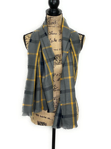 Smokey Gray, Yellow, and Black Windowpane Plaid Acrylic Scarf