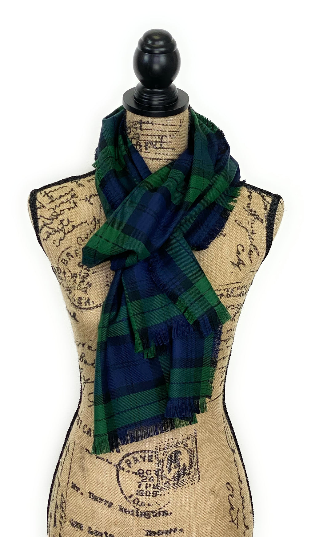 Black Watch Tartan Dark Green, Navy Blue, and Black Plaid Acrylic Scarf