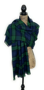 New Black Watch Tartan Dark Green, Navy Blue, and Black Plaid Acrylic Scarf