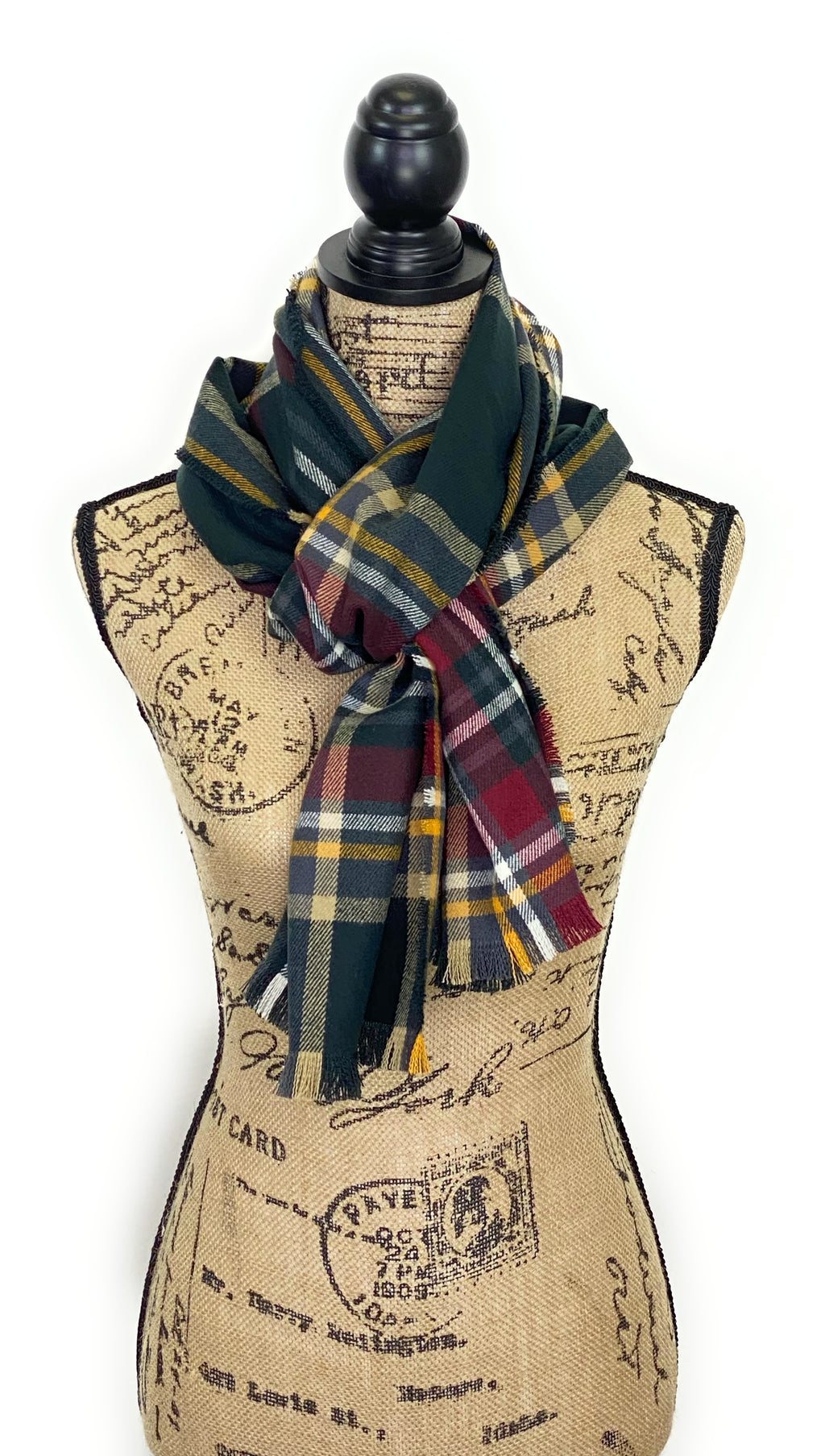 New Fall Colors of Deep Gray, Burgundy, Yellow, White, and Black Plaid Acrylic Scarf