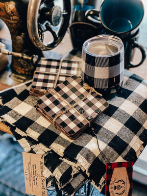 Shepherd's Plaid White and Black Buffalo Tumbler