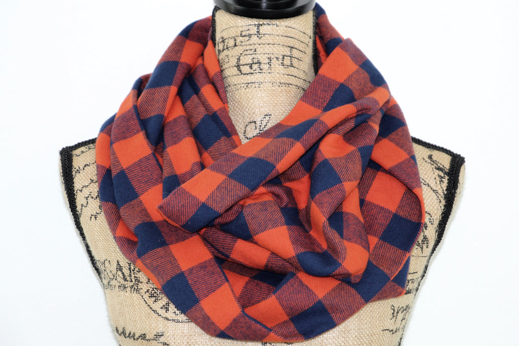 Classic Buffalo Plaid Gingham in Orange and Navy Blue Flannel Plaid Infinity Scarf or Blanket Scarf Tartan Wrap