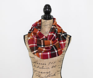 Wine Red, Pumpkin Orange, Black and White Flannel Plaid Infinity or Blanket Scarf Autumn Wrap