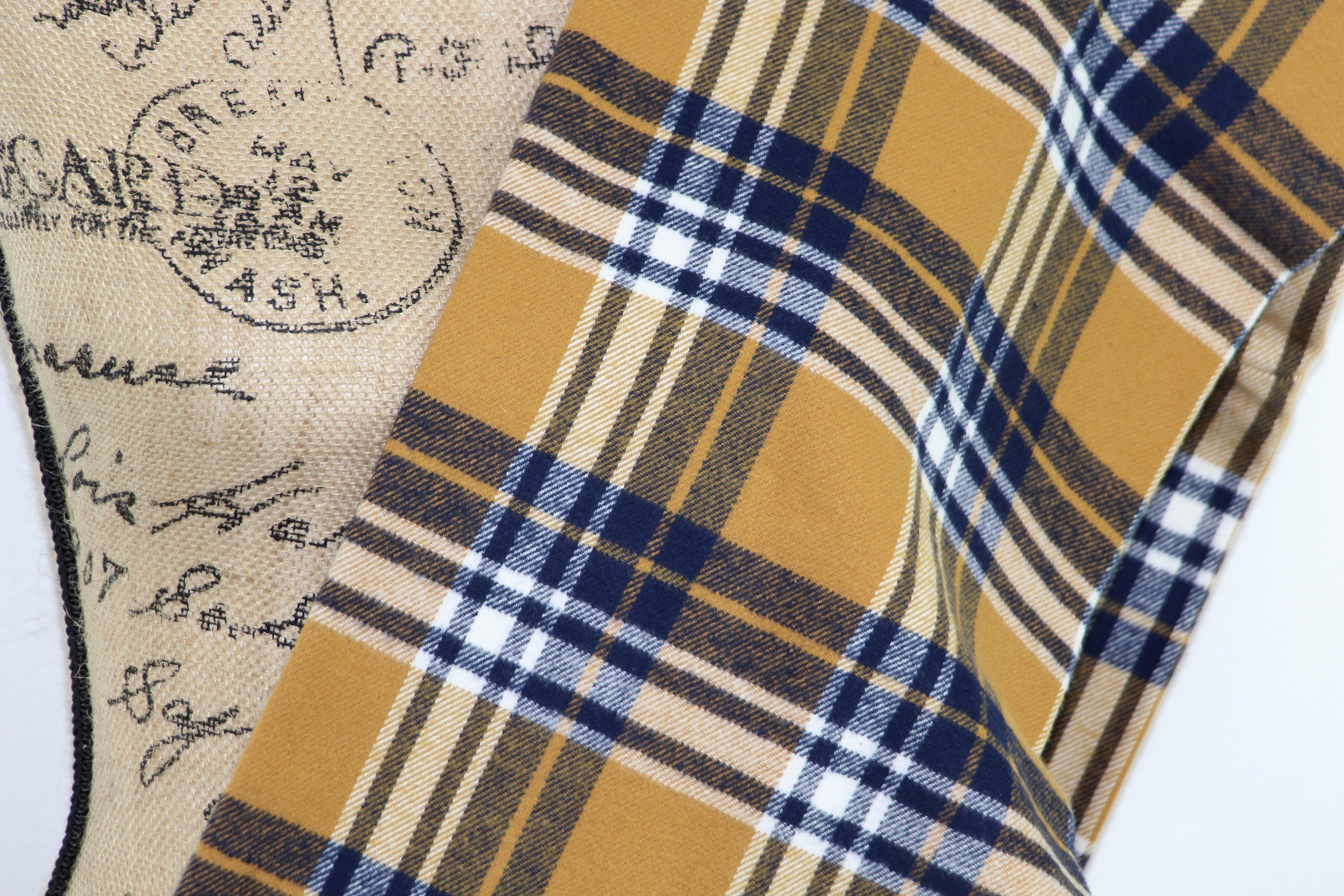 Mustard Yellow, Navy Blue, and White Flannel Plaid Infinity or Blanket Scarf
