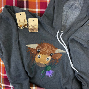 Highland Coo Cute Cow Soft Fleece Unisex Sweatshirt Hoodie