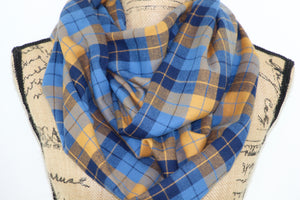 Cornflower Blue, Navy, and Honey Orange Lightweight Flannel Plaid Infinity or Blanket Scarf
