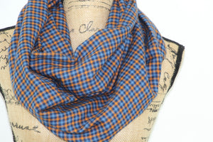 Blue and Orange Gingham Check Plaid Lightweight Flannel Infinity or Blanket Scarf