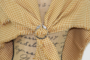 Butterscotch Orange/Yellow and Cream Small Check Gingham Plaid Lightweight Infinity or Blanket Scarf