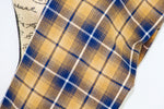 Mustard Yellow, Navy Blue, and White Ombre Plaid Lightweight Flannel Infinity or Blanket Scarf