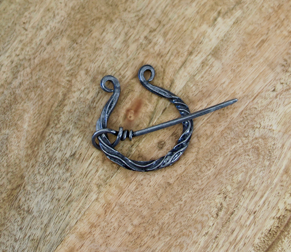 Celtic Antique Looking Twisted Penannular Brooch Cloak Pin Scarf Ring