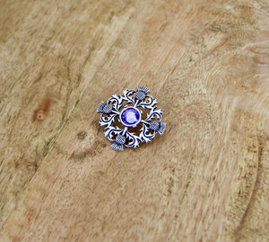 Scottish Thistle Brooch with Purple Stone Traditional Pin
