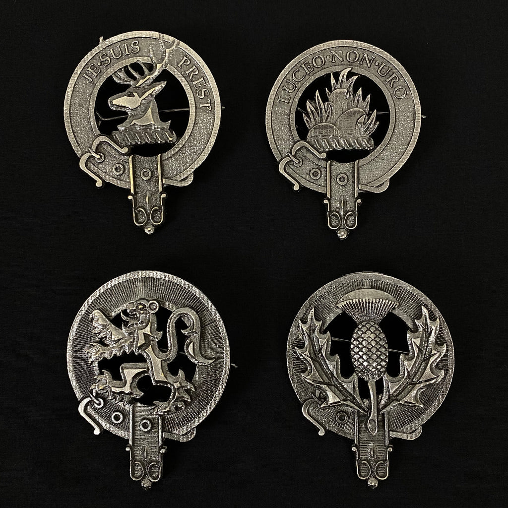 Outlander Clan Badge Collection - Fraser of Lovat, MacKenzie, Rampant Lion, and Scottish Thistle