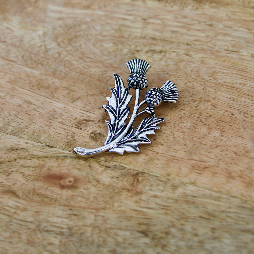 Double Scottish Thistle Brooch Pin
