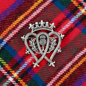 Luckenbooth Scottish Heart Shaped Brooch with Scottish Thistle and Crown