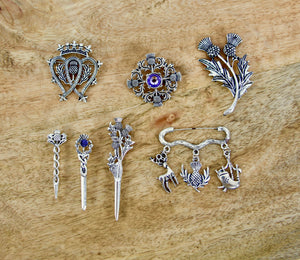 Scottish Pin with Stag, Scottish Thistle, and Bagpipes Charms