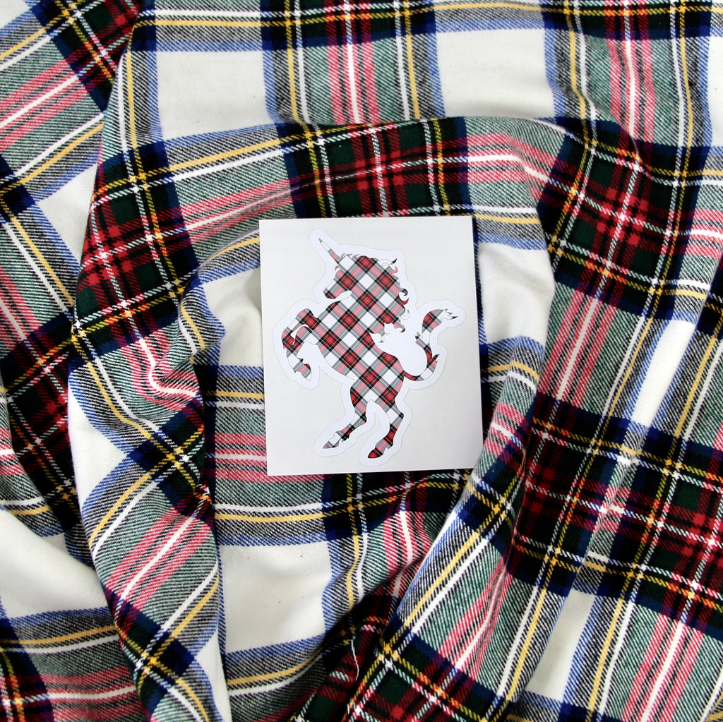 Dress Stewart Tartan White, Red, and Green Scottish Unicorn Sticker