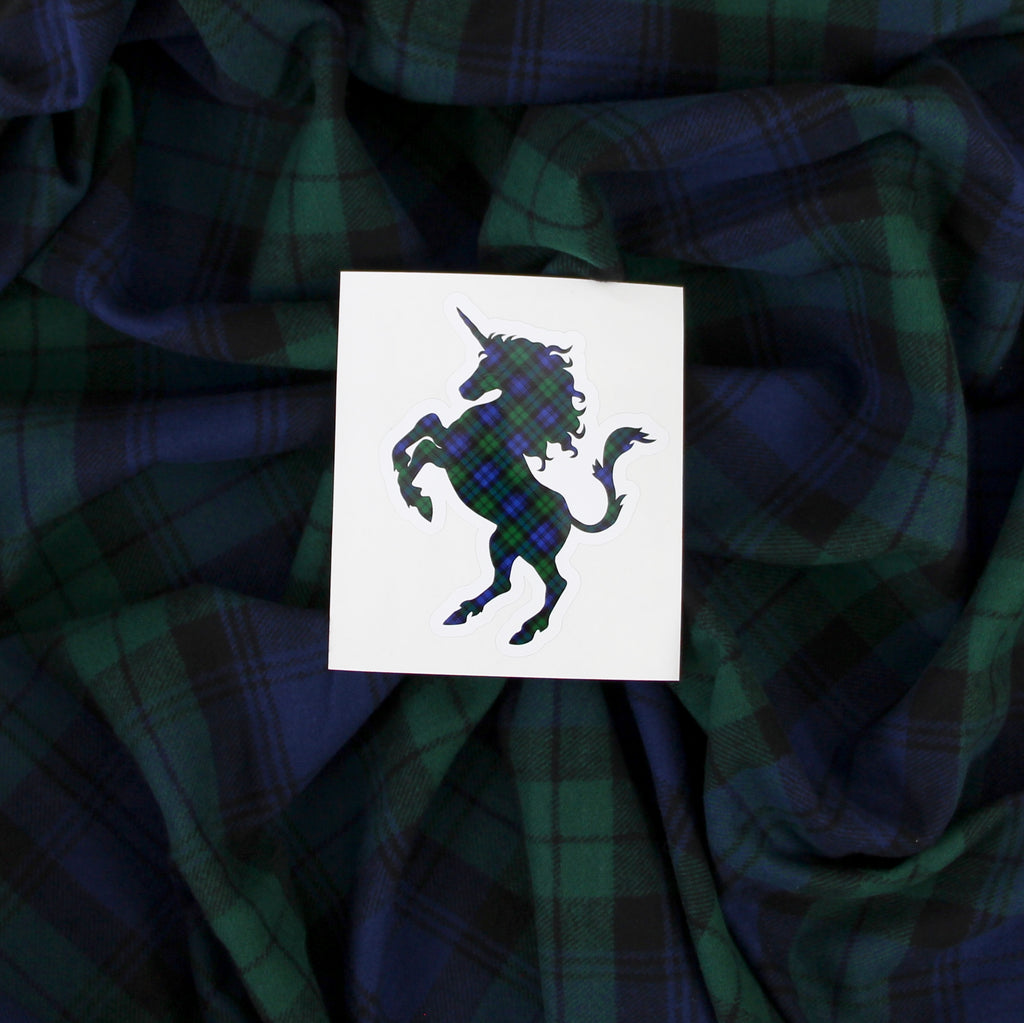 Black Watch Tartan Green, Blue, and Black Plaid Unicorn Sticker