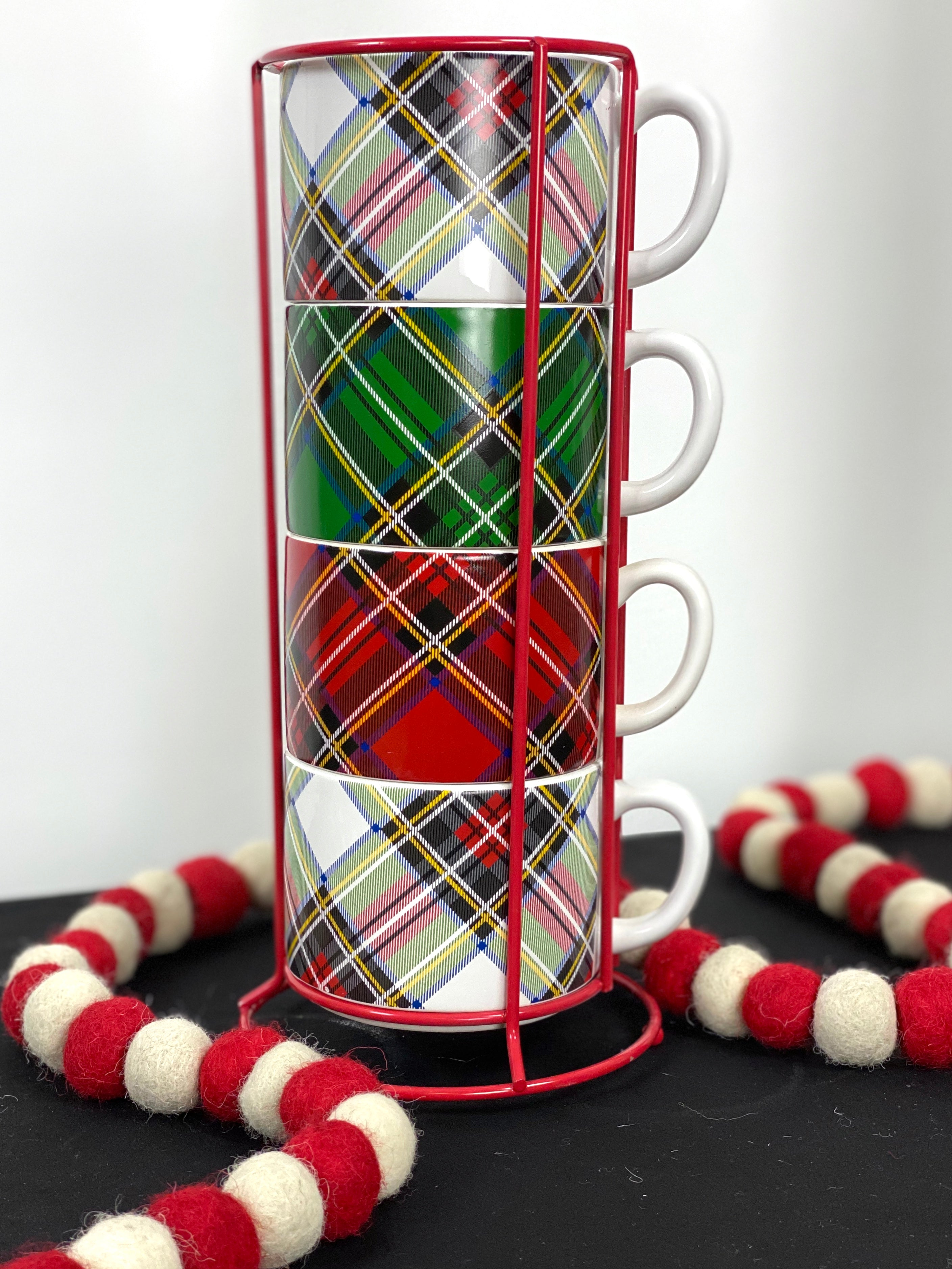 NEW Tartan Stacking Coffee Mugs in Christmas Colors Red, Green, and White
