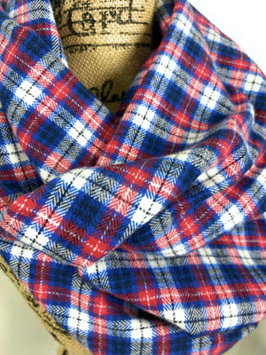 NEW Red, White, Blue, and Black Medium-weight Flannel Plaid Infinity Scarf