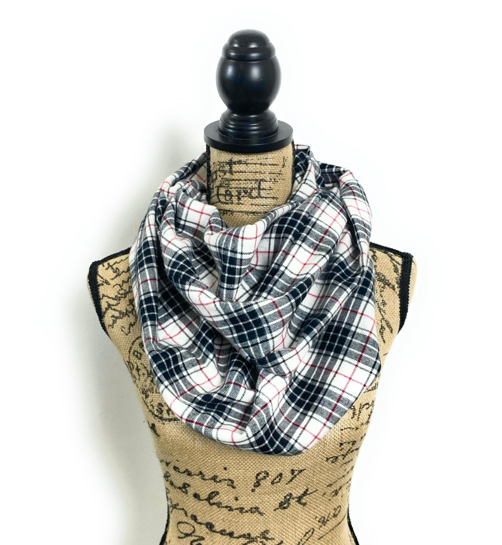 NEW Black, Red, and White Lightweight Flannel Plaid Infinity Scarf