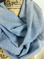 NEW Light Blue and Ivory Herringbone Medium-Weight Flannel Plaid Infinity Scarf