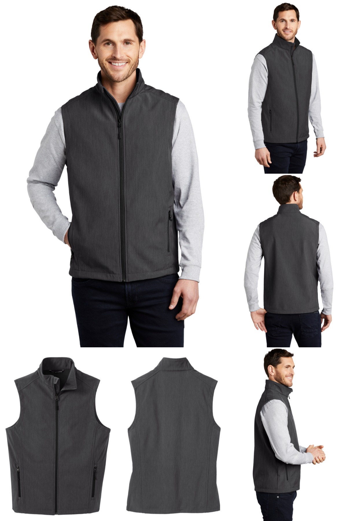 NEW Men's Stag Celtic Knot Embroidered Heather Dark Gray Soft Shell Vest