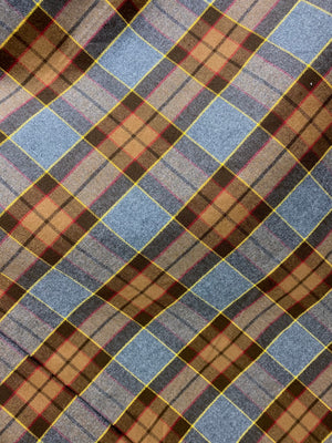 Straight Scarf - Outlander Clan Fraser Inspired Gray, Brown, Yellow, and Red Cotton Flannel