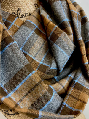 Infinity Scarf - Outlander Clan MacKenzie Inspired Gray, Brown and Light Blue Cotton Flannel