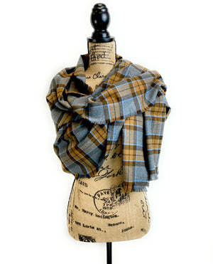 Wrap Size Scarf - Outlander Clan MacKenzie Inspired Gray, Brown and Light Blue Cotton Flannel