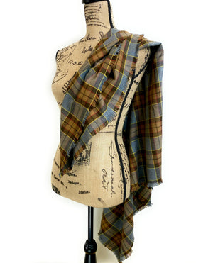 Blanket Scarf - Outlander Clan Fraser Inspired Gray, Brown, Yellow, and Red Cotton Flannel