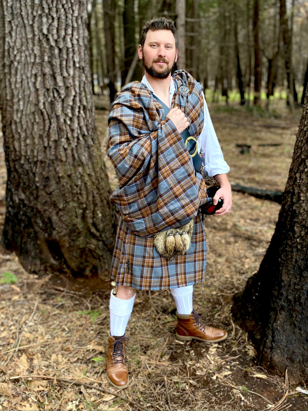 5-Yard Great Kilt - Outlander Clan MacKenzie Inspired Comfy Cotton Flannel Kilt