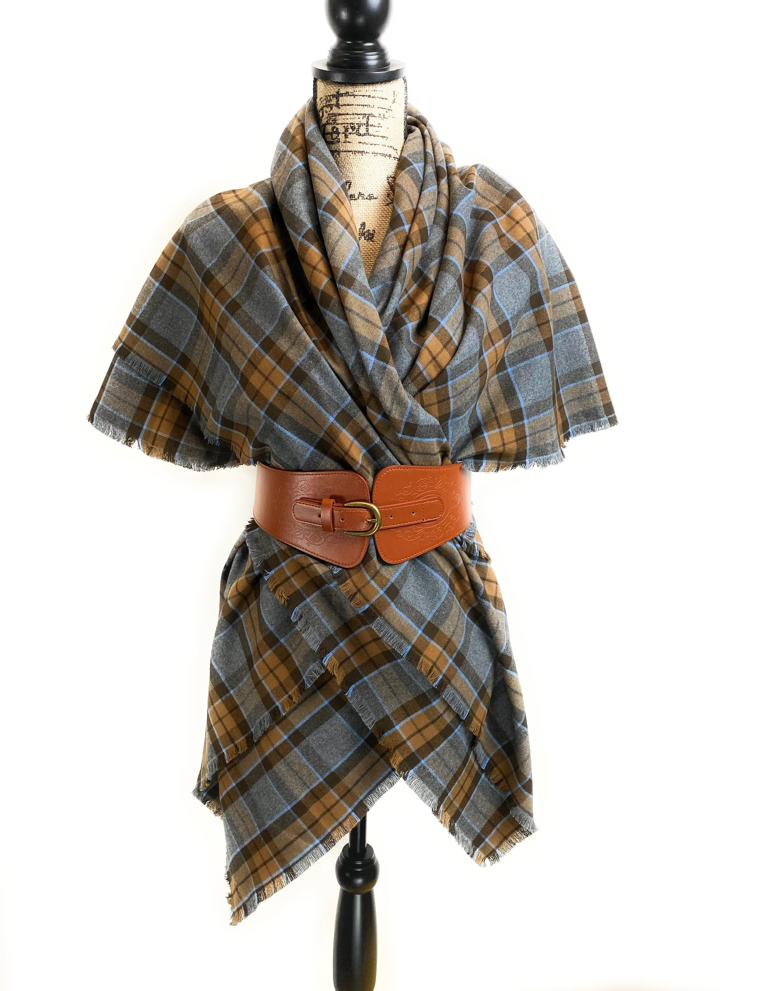 Oversized Blanket Scarf/Earasaid - Outlander Clan MacKenzie Inspired Gray, Brown and Light Blue Cotton Flannel