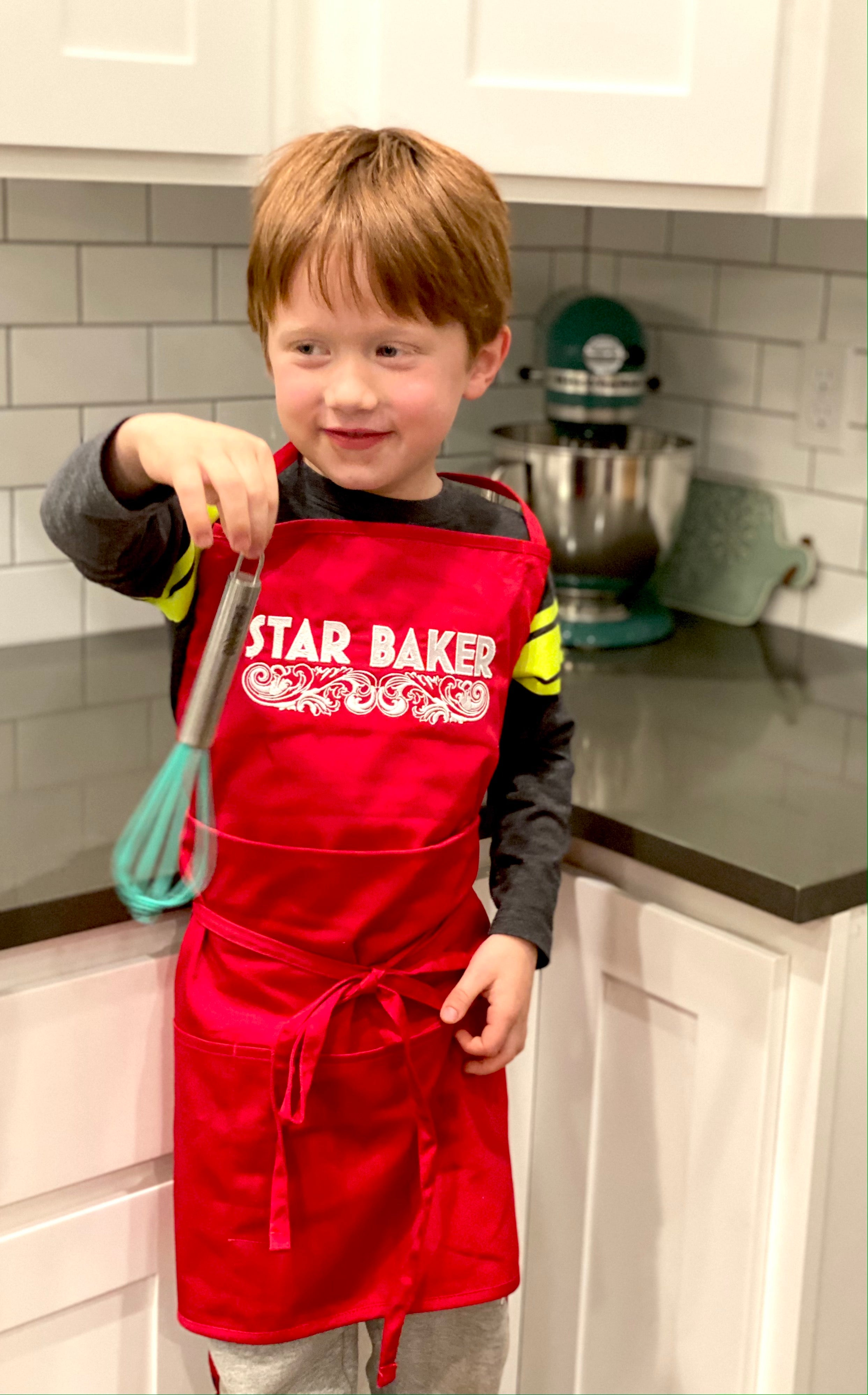 KIDS Star Baker Embroidered Apron - Multiple Apron Color Options