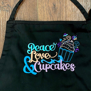 """Peace Love and Cupcakes"" Embroidered Apron - Craftsman and Canvas Style Options"