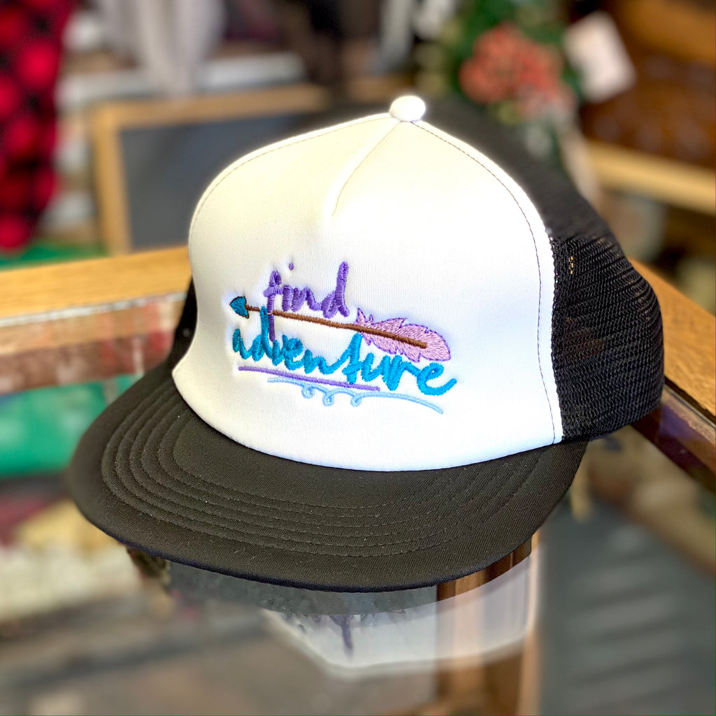 Find Adventure Feather Embroidered Foam Mesh Back Trucker Hat - Multiple Customizable Options