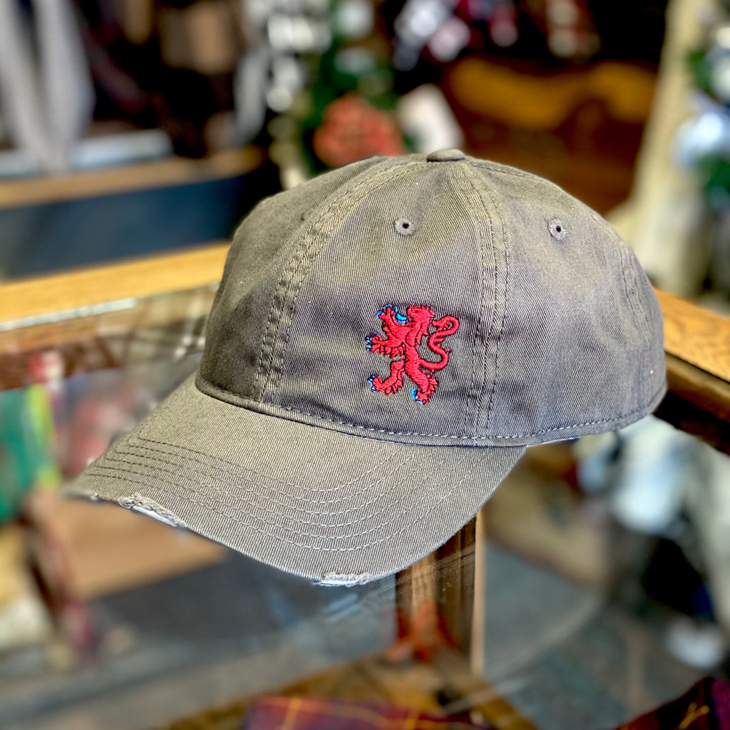 Rampant Lion Faded Distressed Gray and Red Hat - Multiple Customizable Options