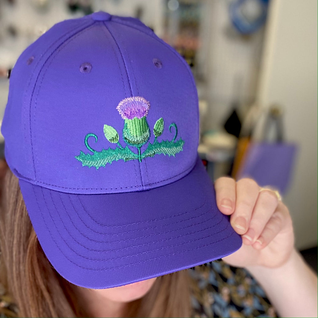 Scottish Purple Thistle Embroidered Hat
