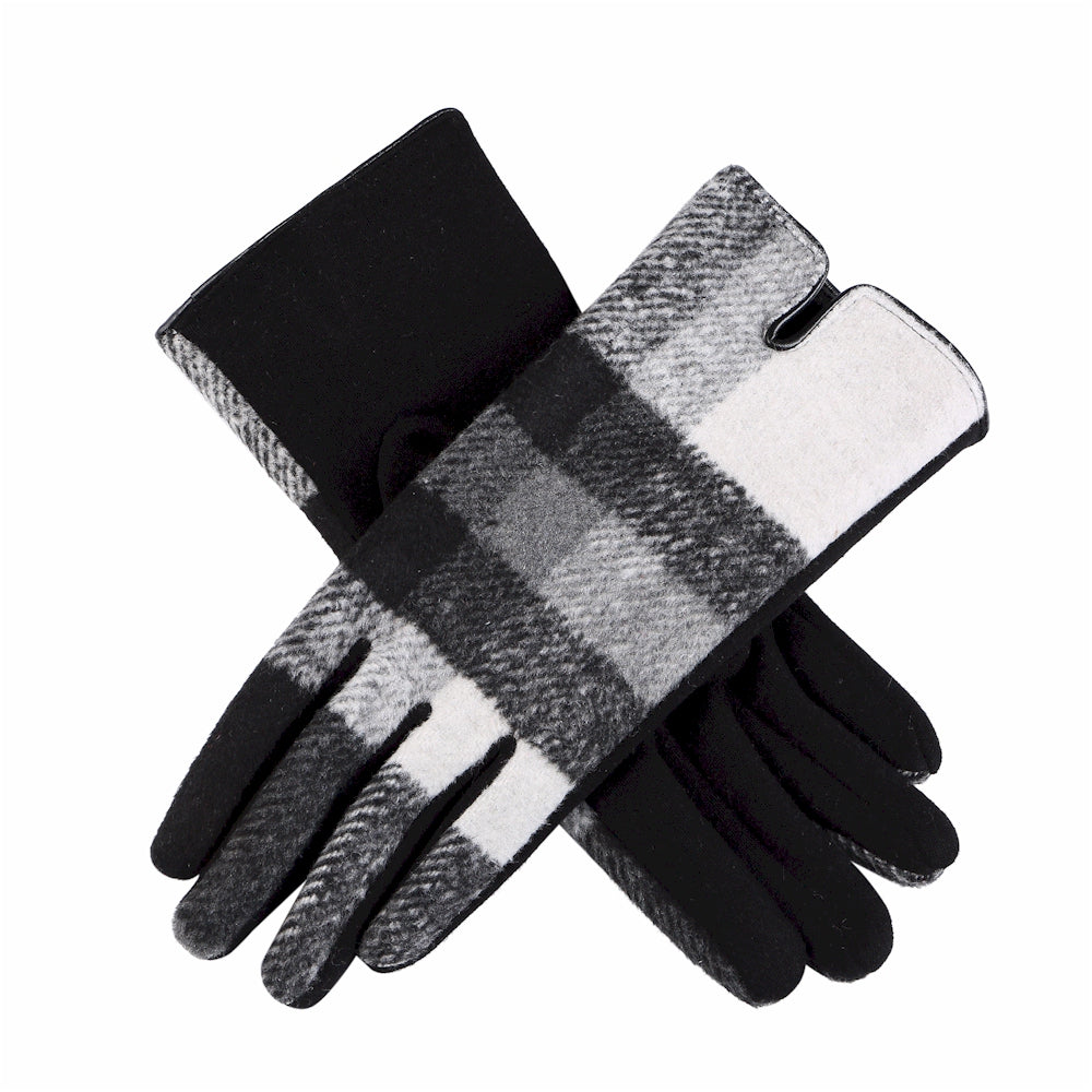 Black, White, and Gray Plaid Touchscreen Gloves