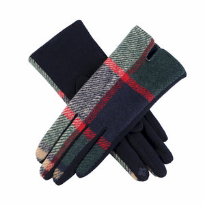Hunter Green, Navy Blue, Red and Tan Plaid Touchscreen Gloves