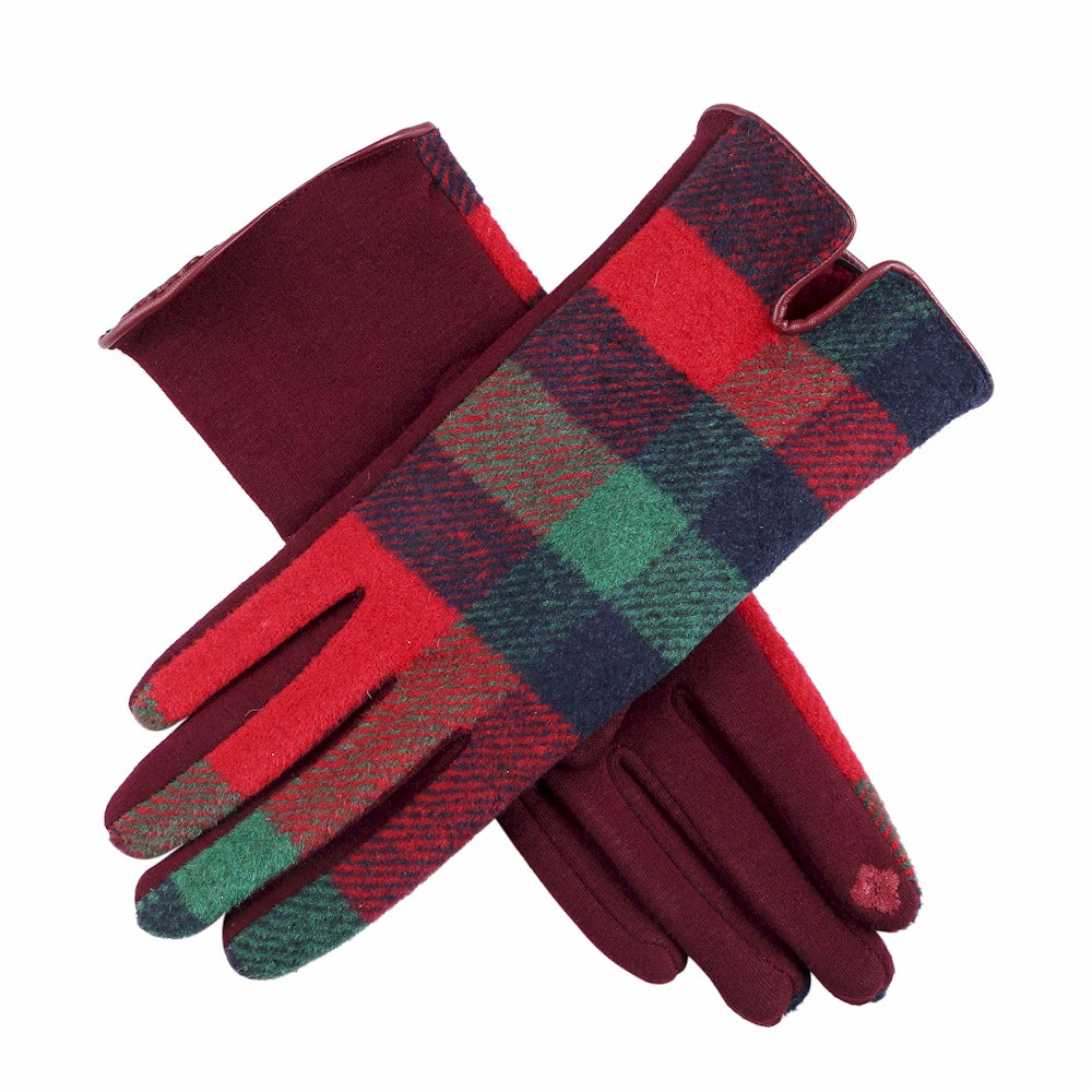 Red, Navy Blue, and Green Plaid Touchscreen Gloves