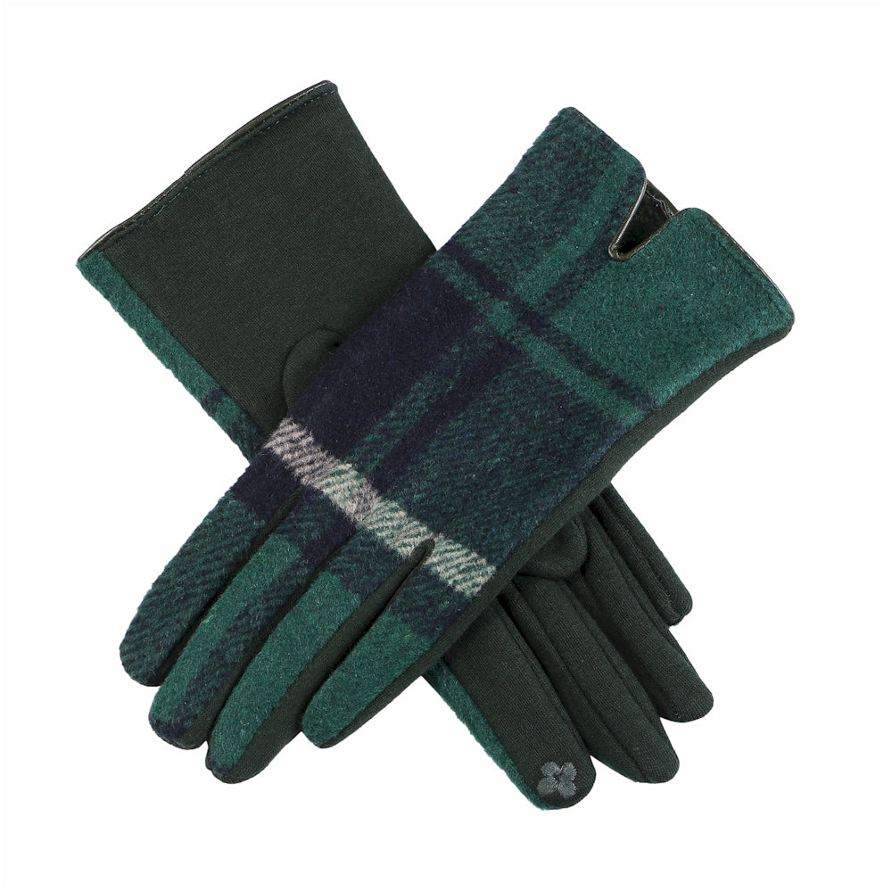 Forest Green, Navy Blue, and Tan Plaid Touchscreen Gloves