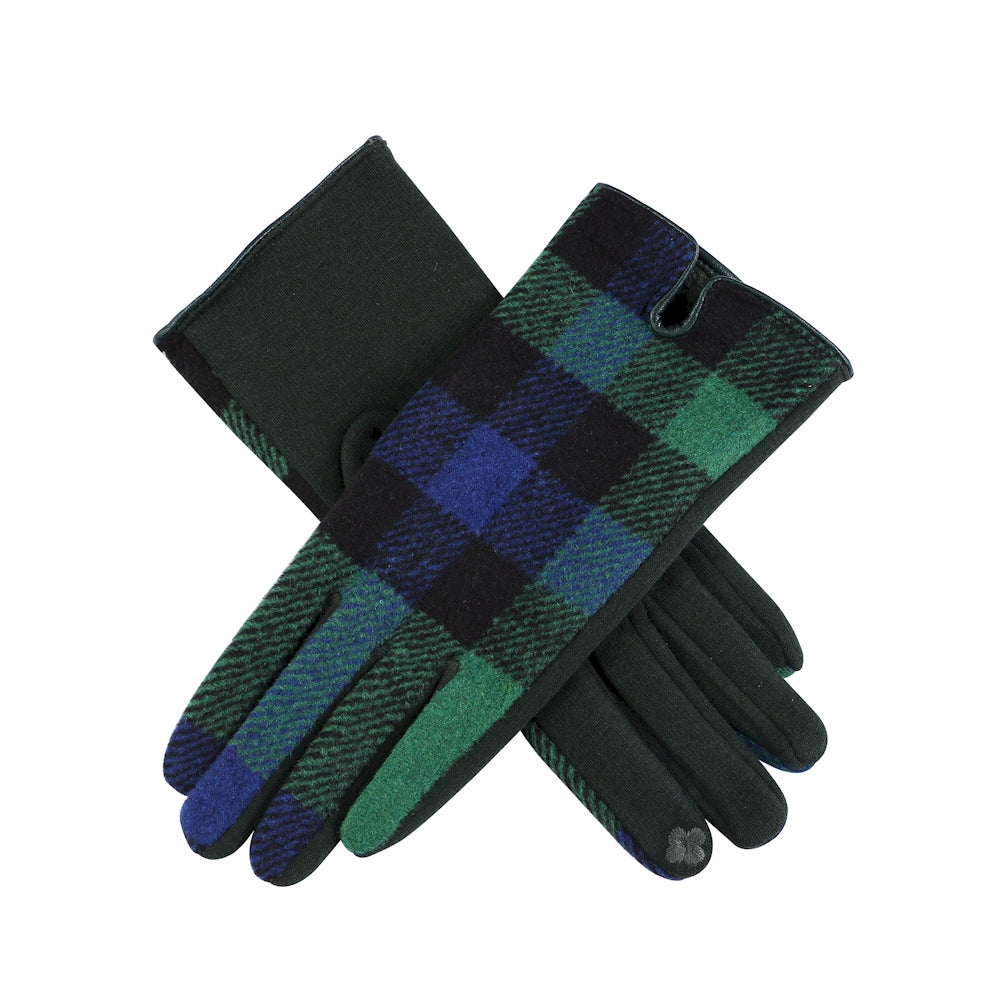 Black Watch Tartan Navy Blue, Forest Green, Black Plaid Touchscreen Gloves